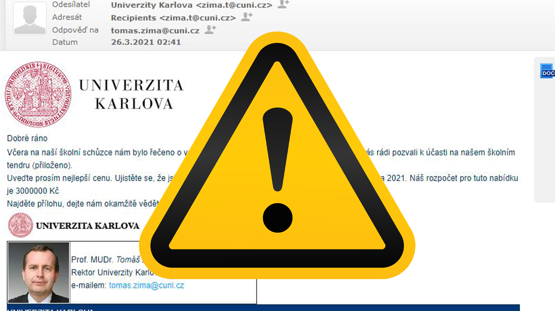 Warning against fraudulent e-mails misusing the name of CU