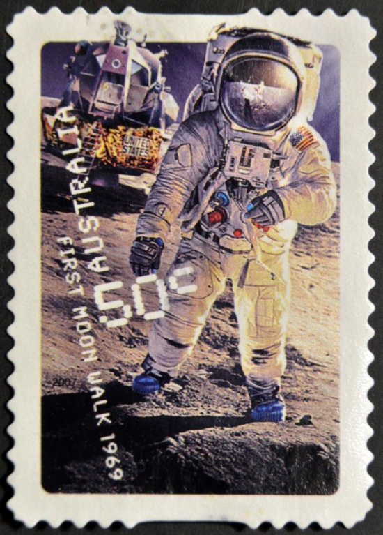 A stamp depicting Neil Armstrong - the first man on the Moon. Source: Shutterstock.